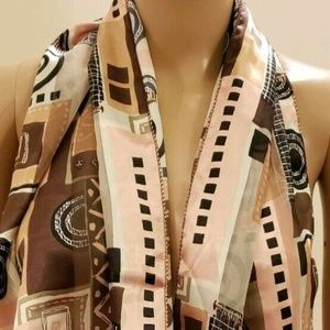 Women's Scarf Pink Green and Brown Abstract Print